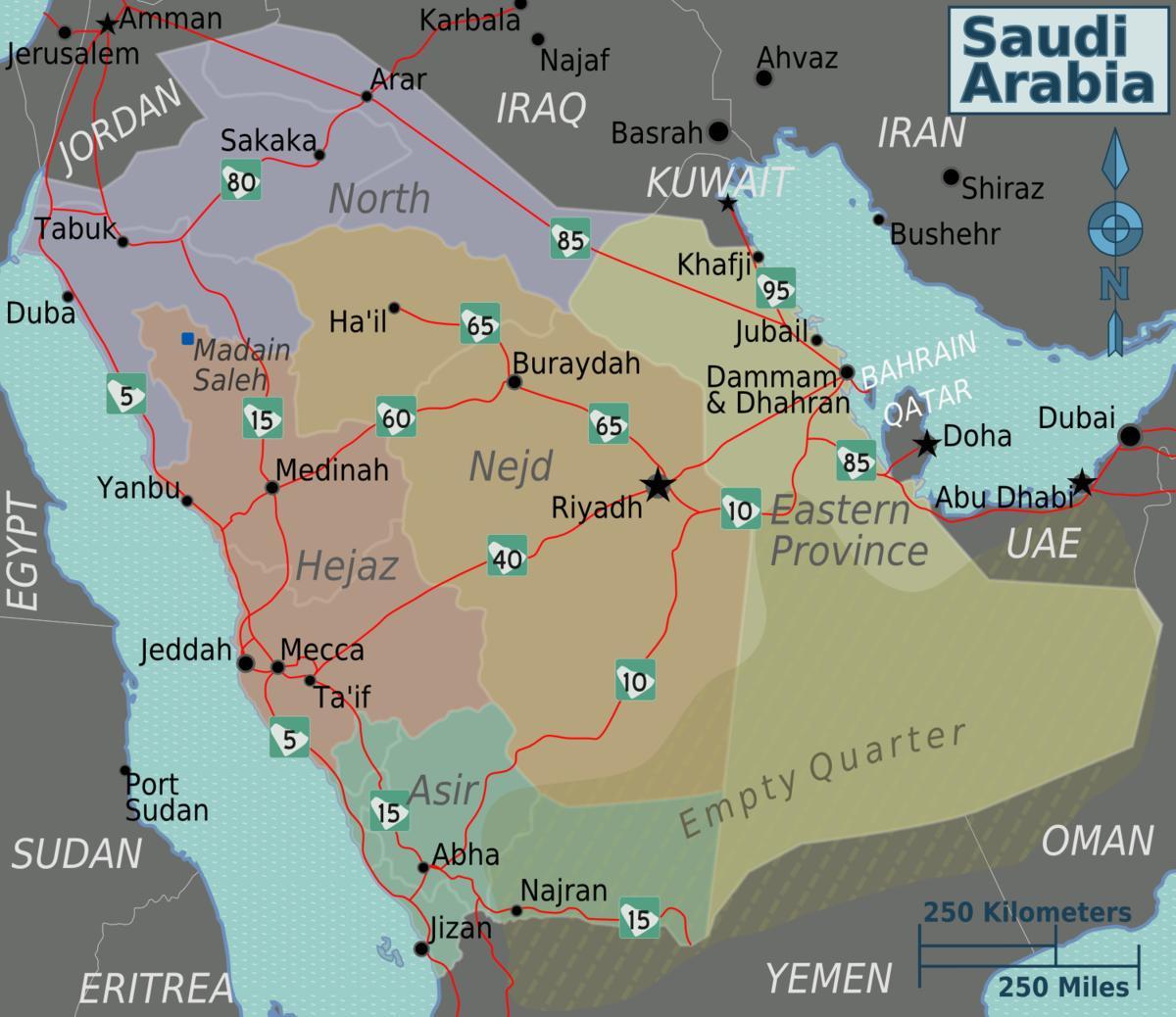 المدن السعودية خريطة السعودية خريطة المدن غرب آسيا آسيا